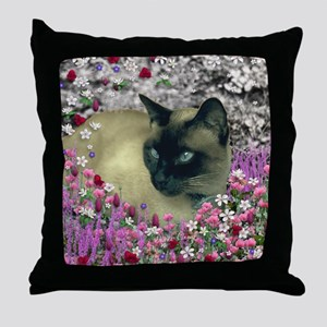Stella Siamese Cat Flowers Throw Pillow