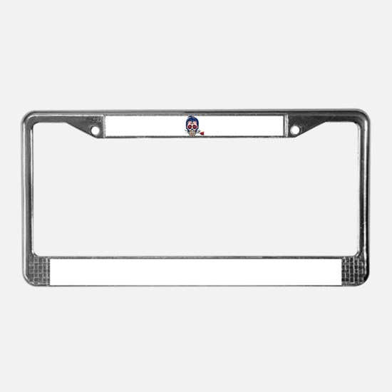 Old School Skull License Plate Frame