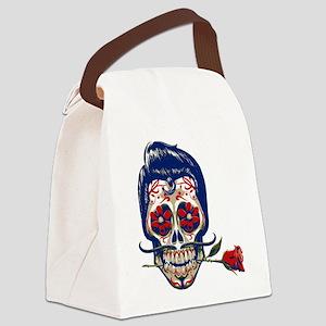 Old School Skull Canvas Lunch Bag