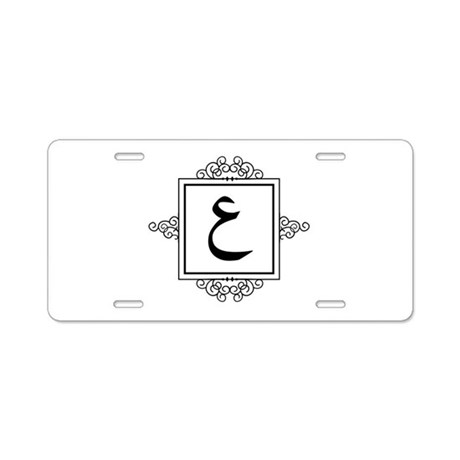 Ayn Arabic letter 3 A monogram Aluminum License Pl by