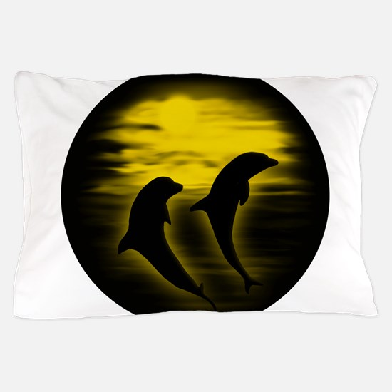 Dolphins Yellow copy.png Pillow Case