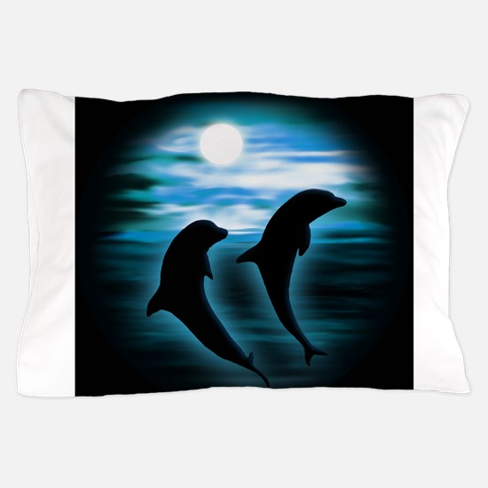Midnight Dolphins bg.png Pillow Case