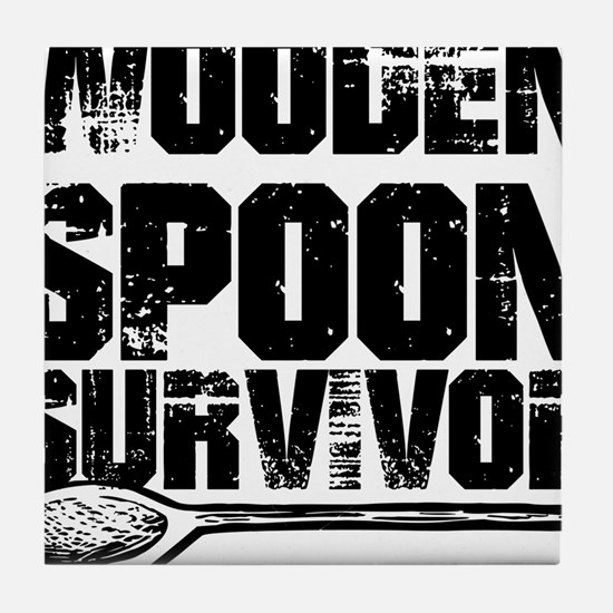 wooden spoon survivor Tile Coaster
