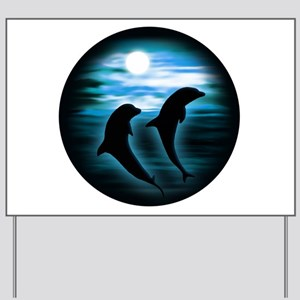 Midnight Dolphins copy Yard Sign