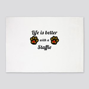 Life Is Better With A Staffie 5'x7'Area Rug
