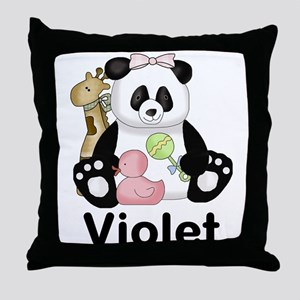 violet's sweet panda personalized Throw Pillow