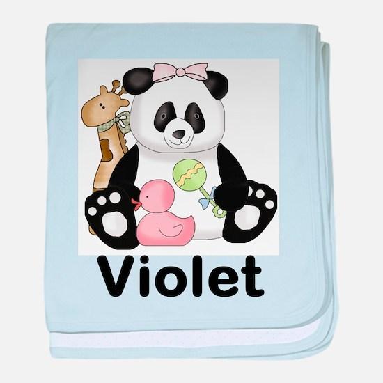 violet's sweet panda personalized baby blanket
