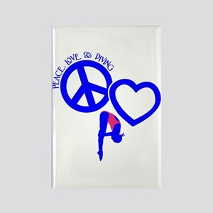 PEACE-LOVE-DIVING Rectangle Magnet