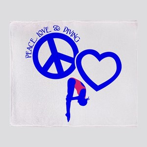 PEACE-LOVE-DIVING Throw Blanket