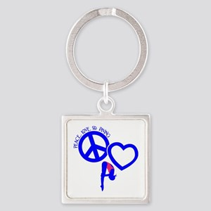 PEACE-LOVE-DIVING Square Keychain