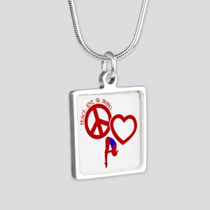 PEACE-LOVE-DIVING Silver Square Necklace