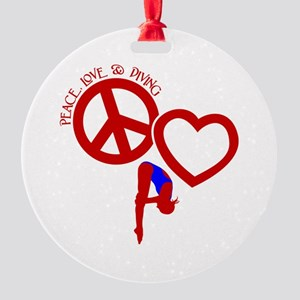 PEACE-LOVE-DIVING Round Ornament