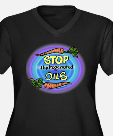 """Stop Hydrogenated Oils"" Women's Plus Size V-Neck"