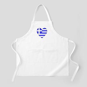 Greek Flag Heart Valentine BBQ Apron