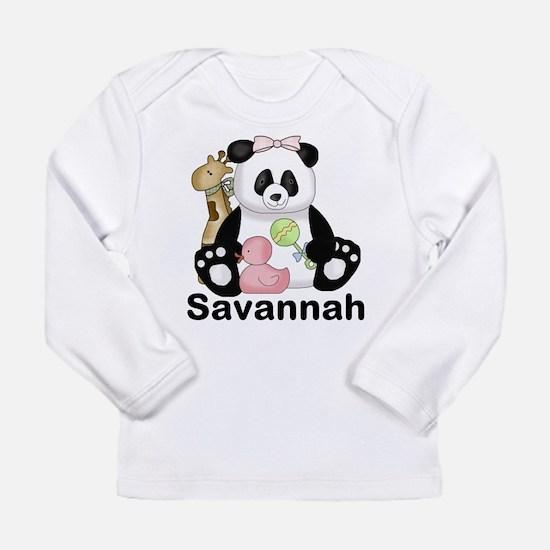 savannah's sweet panda Long Sleeve Infant T-Shirt