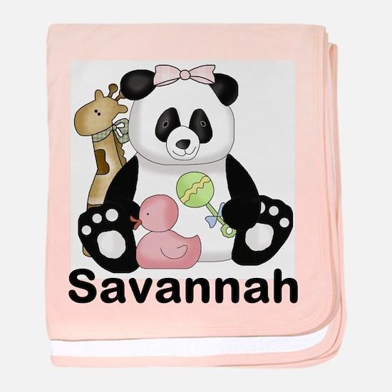 savannah's sweet panda personalized baby blanket