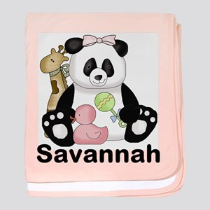 savannah's sweet panda personalized baby blanket