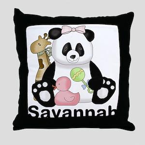 savannah's sweet panda personalized Throw Pillow
