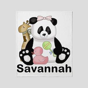 savannah's sweet panda personalized Throw Blanket