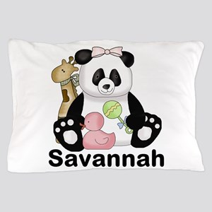 savannah's sweet panda personalized Pillow Case