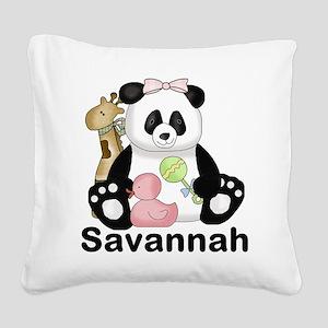 savannah's sweet panda person Square Canvas Pillow