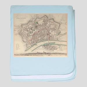 Vintage Map of Frankfurt Germany (183 baby blanket