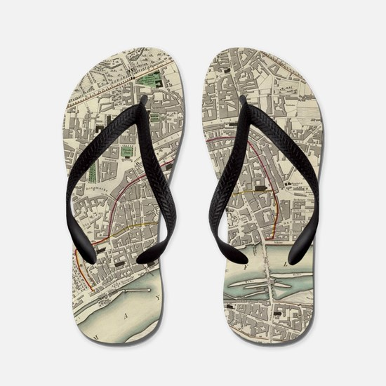 Vintage Map of Frankfurt Germany (1837) Flip Flops