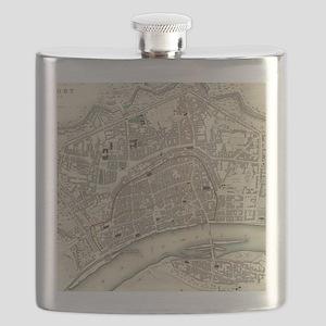 Vintage Map of Frankfurt Germany (1837) Flask