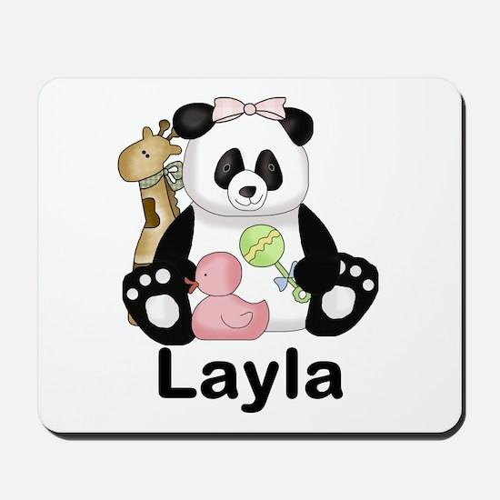 layla's sweet panda personalized Mousepad