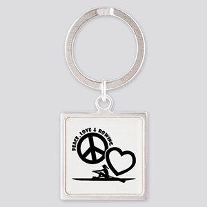 PEACE-LOVE-ROWING Square Keychain