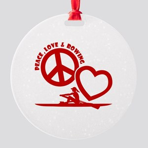 PEACE-LOVE-ROWING Round Ornament