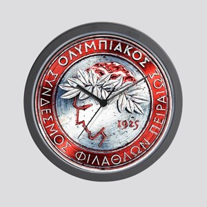 Olympiacos Red Metal Wall Clock
