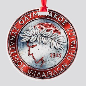 Olympiacos Red Metal Round Ornament