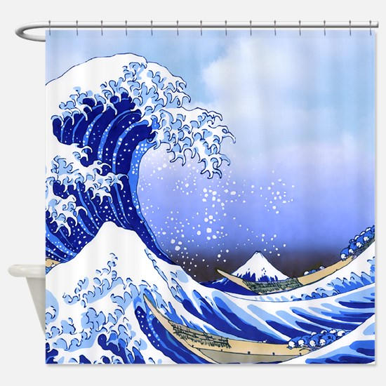 Surf's Up Great Wave Hokusai Shower Curtain