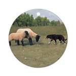 Dog Meets Sheep Ornament (Round)