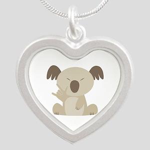 ASL I Love You Koala Silver Heart Necklace