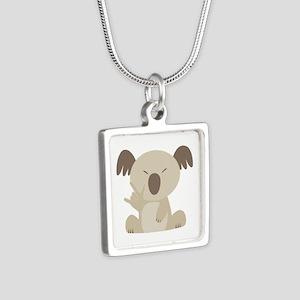 ASL I Love You Koala Silver Square Necklace