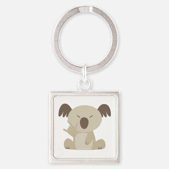 ASL I Love You Koala Square Keychain