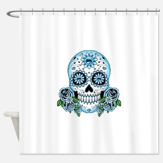 Blue Sugar Skull Shower Curtain