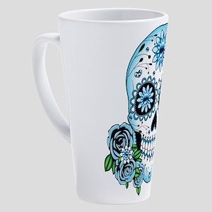 Blue Sugar Skull 17 oz Latte Mug