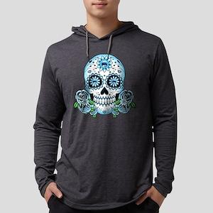 Blue Sugar Skull Long Sleeve T-Shirt