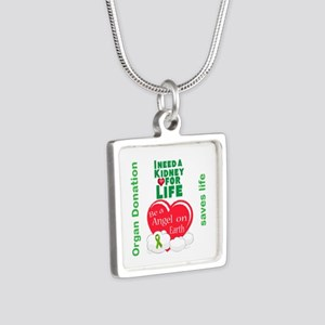 Kidney For Life Silver Square Necklace