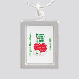 Kidney For Life Silver Portrait Necklace