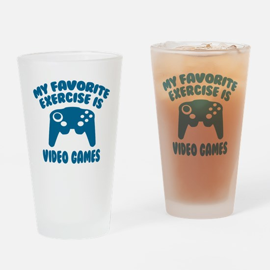 My Favorite Exercise is Video Games Drinking Glass