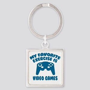 My Favorite Exercise is Video Game Square Keychain