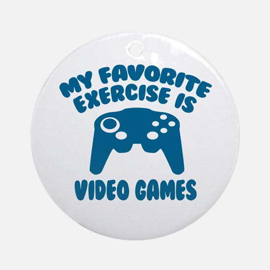 My Favorite Exercise is Video Games Round Ornament