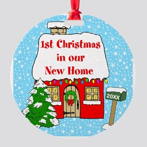 1st Xmas In New Home Round Ornament