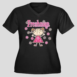 Freshman Gir Women's Plus Size V-Neck Dark T-Shirt