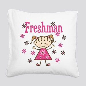 Freshman Girl Square Canvas Pillow