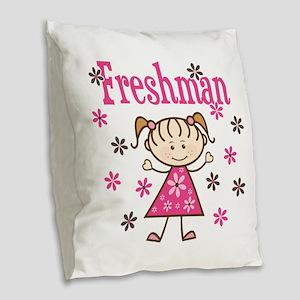 Freshman Girl Burlap Throw Pillow